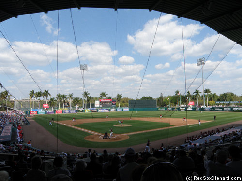 A beautiful afternoon at City of Palms Park... except for those trying to keep score.