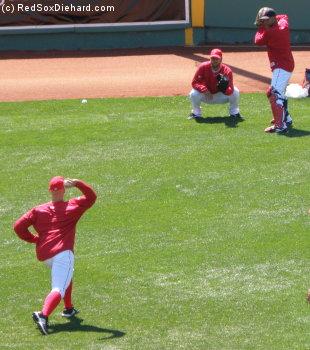 Masterson, Delcarmen, and Mani Martinez play catch
