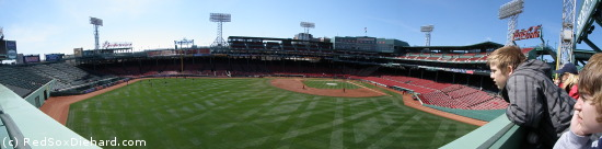 Fenway Park is quiet as preparations are made for the game, but it won't be for long. Click the image to enlarge.