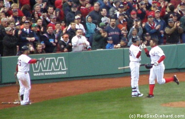 Tek is congratulated by Ellsbury and Pedroia after his 6th inning homer. Hes on pace to hit 162 round-trippers this year.