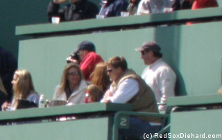 Timlin watches the game from the Green Monster.