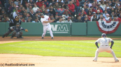 Youk hits a double. He went 3-for-4, plus a walk, in the game.