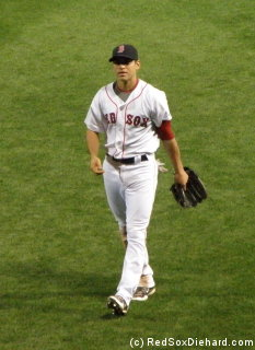 Jacoby Ellsbury on his way out to center field... and on his way into the history books.