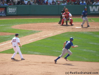David Murphy takes off from first after one of his three hits. Why can't we get players like that? (Oh, wait...)