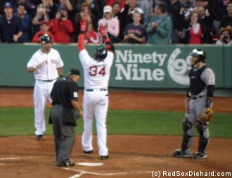 Big Papi crosses the plate after his fourth inning home run.