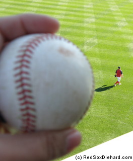 Moments are tossing me this baseball, my new favorite player Brad Penny heads toward left field.