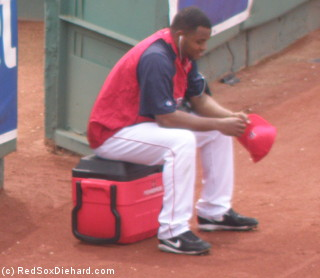 Ramon Ramirez waits for his turn in the bullpen during a quiet moment hours before the game.