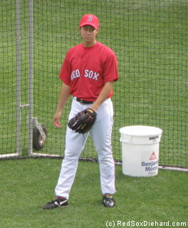 Junichi Tazawa during batting practice. Earlier in the week he became the sixth player to make his Major League debut with the Red Sox this year, as well as being the fourth Japanese pitcher on the Sox this season.