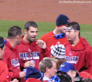 We didn't get to see the Red Sox clinch this year, but here's what it might have looked like.  This is Tim Wakefield, Mike Lowell, Josh Beckett, and their teammates celebrating their Division Series win over the Angels in 2008.