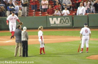 Johnny Pesky threw out the first pitch the day after his 90th birthday.