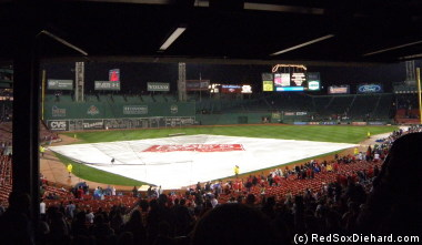 Another rain delay at Fenway drowned any chance of clinching the Wild Card.