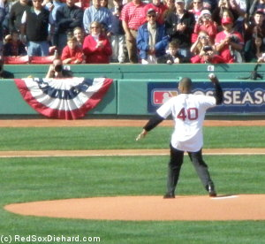 Dave Henderson returns to Red Sox/Angels playoff action as he throws out the first pitch.