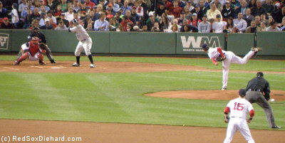 Clay Buchholz pitches to Kevin Millar.