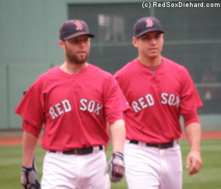 Dustin Pedroia and Jacoby Ellsbury during batting practice.