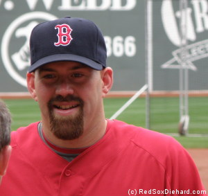 Kevin Youkilis chats during B.P.