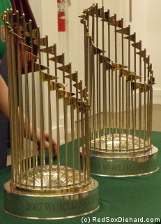 The 2007 (in the front) and 2004 World Series trophies.