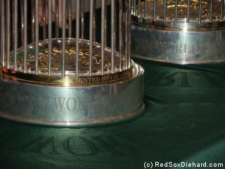 A close-up of the trophies' bases.