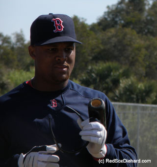 Getting a look at the new guys: Adrian Beltre finishes up a round of B.P.