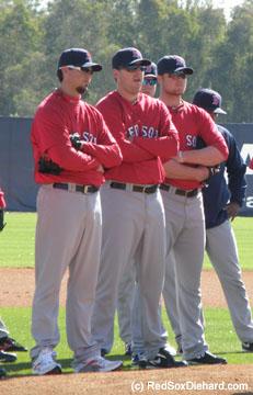 Obligatory shot of the Big Three - Josh Beckett, John Lackey, and Jon Lester.