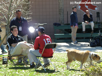 Bruiser the dog makes a cameo in Marco Scutaro's interview.