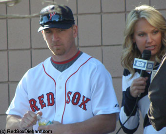Sunday: J.D. Drew prepared for an interview with NESN's Heidi Watney.