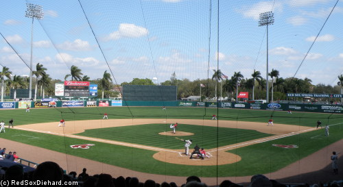 The Red Sox take on Northeastern University on a sunny afternoon in Ft. Myers.