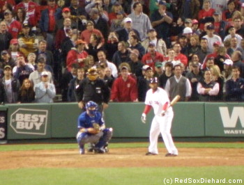 """As Don Orsillo would say, """"Fenway Park stands as one"""" as Darnell steps to the plate."""