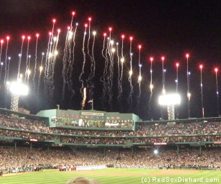 The rockets' red glare lit up the sky over the Fenway façade.