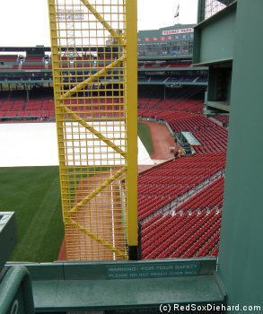 Closeup of the left field foul pole.