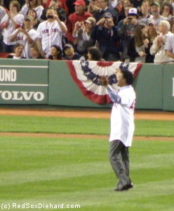 Pedro returns to Fenway to throw out the first pitch.