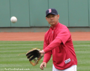 Daisuke Matsuzaka was his usual consistently inconsistent self. (Photo from pre-game warm-ups earlier in the month.)