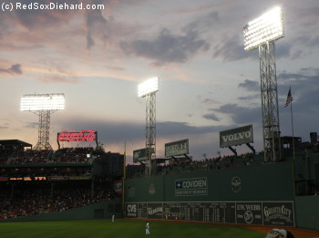 Fenway Park on a cool night.