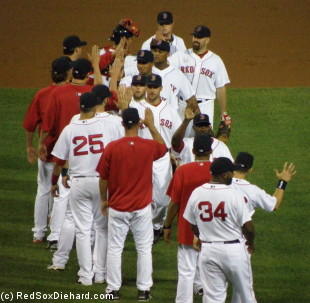 There were high-fives for everyone as the Red Sox wrapped up a fun win.