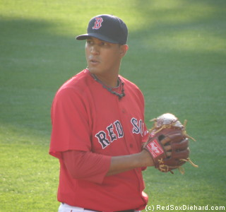 Felix Doubront warms up before his major league debut.