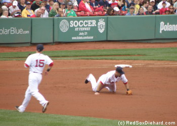 Mike Lowell hops up after making a diving stop. He'll flip to Wakefield covering first to complete the out.