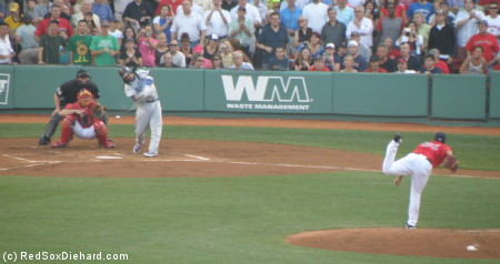 Manny swings at the first pitch off Felix Doubront and flies out to center.