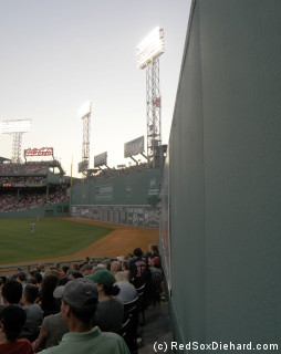 Our seats were in the back of Section 40, behind the Red Sox bullpen.  We were up against the wall and in a row with only three seats, so it felt like our own private little corner of the park.