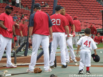 No, it's not Pedroia in the #41 shirt - it's the youngest Red Sox prospect, Victor Jr.