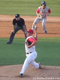 Keith Couch started for the Spinners.  Behind him on the basepaths is Rylan Sandoval, whom he'd throw out trying to steal home a couple of innings later.