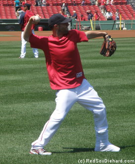 It was great to see Pedey walking around without crutches.  He came out in his walking boot to do some throwing.