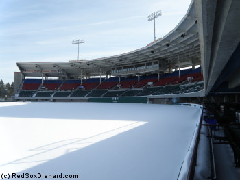 With Opening Day almost three months away, McCoy Stadium's field is covered in snow.