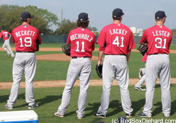 Bonus pic: The top four Red Sox starters look on during drills.