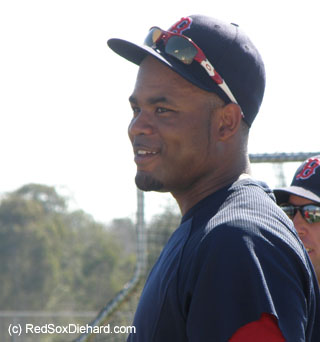 Carl Crawford smiles before taking B.P.