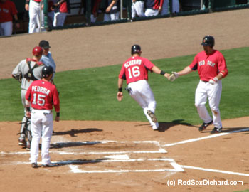 Kevin Youkilis is congratualted at the plate by Marco Scutaro and Dustin Pedroia after his three-run blast.