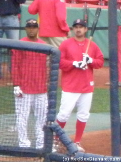 My camera has 20x optical zoom, but this is the closest shot I could get of Carl Crawford and Adrian Gonzalez during batting practice.