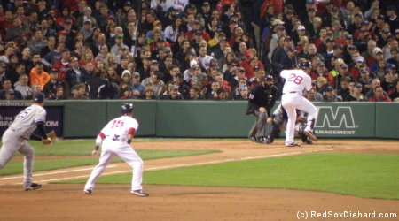 Adrian Gonzalez bats with Dustin Pedroia on first.  Pedey reached base four times, and Gonzo reached base three times.