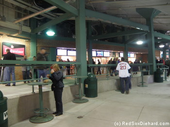 The newly renovated food stands in the concourse behind home plate.