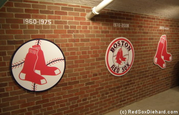 In the concourse under the first base stands, is a display of Red Sox logos through the years.  But can you spot the error with the familiar 1976-2008 one?