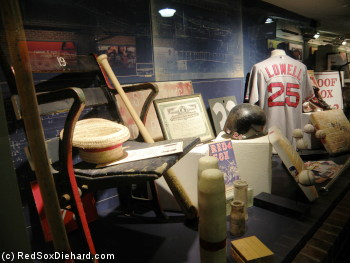 A display of items from the Fenway Park archives is in the newly-renovated area between home plate and first base.