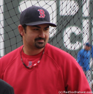 Adrian Gonzalez waits for his turn during batting practice.  He went 4-for-4 in the game and is fast becoming a fan favorite.